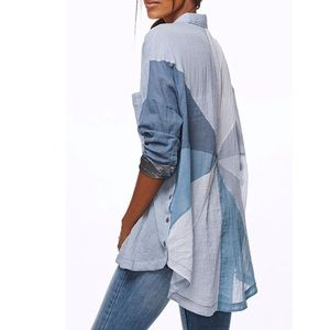 Free People Rainbow Rays Button Down Shirt - Large